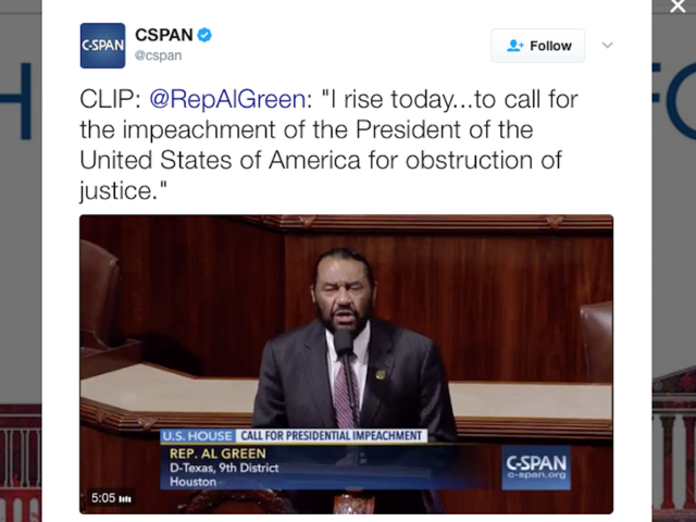Rep. Al Green calls for Trump impeachment on House floor