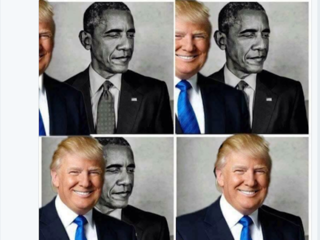 Trump retweets meme of his Obama 'eclipse'