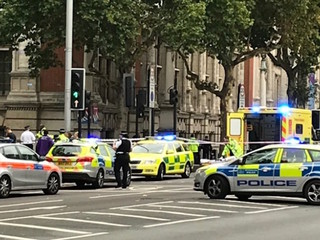 Car hits several people outside London museum