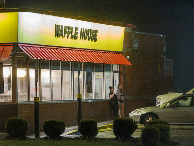 biloxims october 7 2017 waffle house employees take a smoke break at their restaurant which sits 75 feet from the beach as the eye of hurricane nate - Open Restaurants Christmas Day
