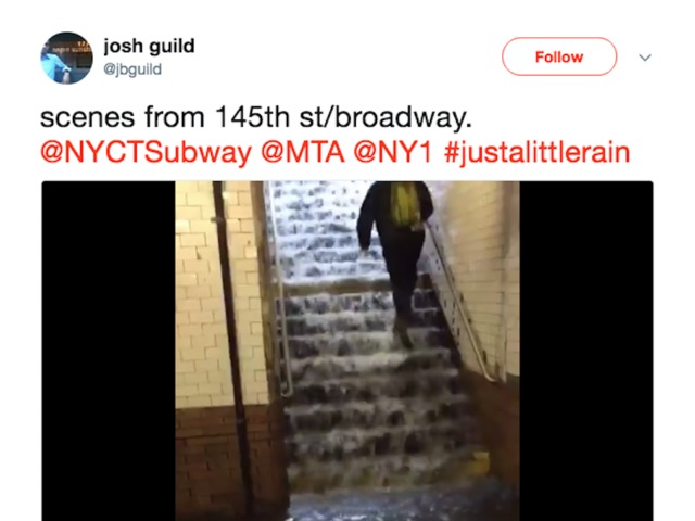 NY: Rain Floods New York Subway Stations