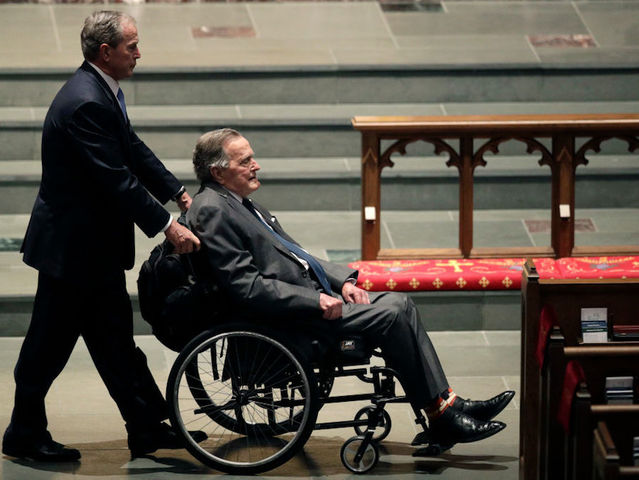 George Bush hospitalised day after wife's funeral